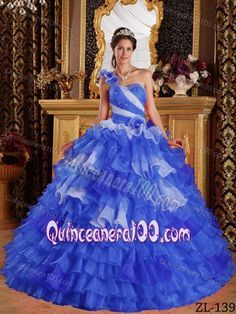 Royal Blue One Floral Shoulder Beading Ruffled Quinceanera Dresses