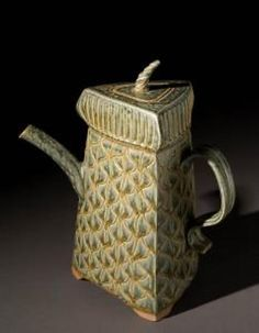 3 Sided Teapot – Sage Green - Handmade pottery teapot by Jim & Shiri Parmentier - Contemporary Functional Pottery Art Pottery Teapots, Teapots And Cups, Ceramic Teapots, Slab Pottery, Pottery Art, Pottery Ideas, Pottery Designs, Stoneware Clay, Ceramic Clay