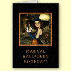 Halloween Birthday - Cute Witch Star Sky Card by XG Designs NYC. $3.80 each. #halloween #birthday #witch