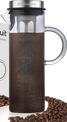Amazon.com | Cold Brew Coffee and Iced Tea Maker - Fruit Infusion Premium Glass Pitcher With Stainless Steel Lid - 2 Interchangeable Infuser Tubes - Large 1.6 Quarts 52 Oz 1500ml - Perfect Gift for Home & Kitchen: Iced Tea Glasses