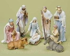"Christmas Nativity Set in Pastel Colors, 10""H from Catholic Faith Store (10"" H, Multi-Color) The hand painted Nativity figures are crafted from a Resin/Stone mixture and have been designed with soft serene colors which accent pure whites and striking gold elements throughout."