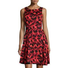 Taylor Women's Printed Shantung Fit-and-Flare Dress, Crimson/Black