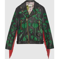 Gucci Intarsia leather biker jacket ❤ liked on Polyvore featuring outerwear, jackets, gucci jacket, green motorcycle jacket, fringe jackets, green moto jacket and fringed leather jackets