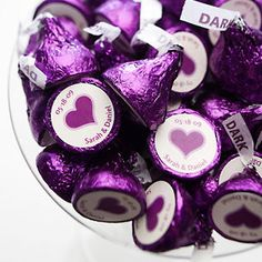 Purple wrapped wedding favors. Have both White and Dark Chocolate as choices. In my case white chocolate for my man and dark chocolate for me.