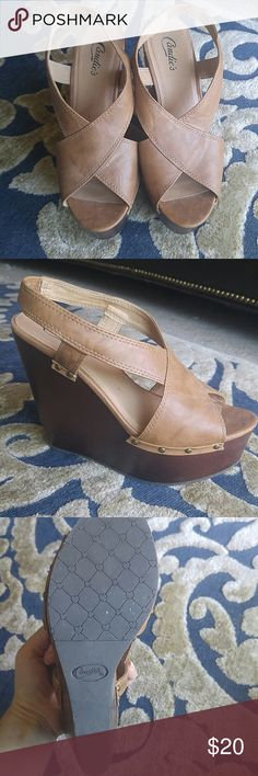 Candies tan faux leather wedges Size 6.5, Candies faux leather wedges. These will look perfect with a boho outfit this summer! Only worn once. Candie's Shoes Wedges