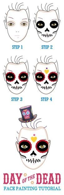 Face-painting tutorial for Day of the Dead  https://happythought.co.uk/day-of-the-dead/skull-face-paint-tutorial    Halloween face paint how to