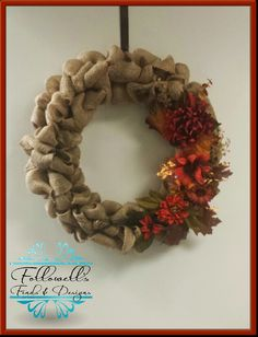 Burlap Fall Flower Wreath