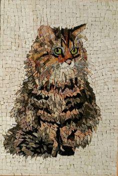 "мозаика ""кошка"",210х300 мм, материал: камень стекло, автор Клементьева Татьяна."