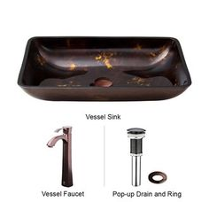 "View the Vigo VGT277 22-1/4"" Brown and Gold Fusion Glass Vessel Bathroom Sink Set with Single Hole Faucet and Pop-Up Drain at FaucetDirect.com."