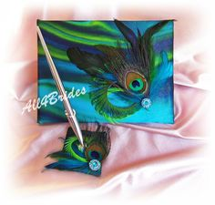 Wedding guest book, peacock wedding guest book, peacock feather embellishment, turquoise, teal, green, royal blue accent colors