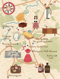 Homes & Antiques magazine recently commissioned me to create a map of Edinburgh, highlighting vintiquing destinations and places of interest.  [zaraillustrates.com]