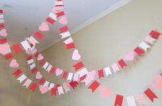 Valentine Decorations/ 10 ft Mini flag Valentines Day Paper Garland / Valentine Photo Prop / Classroom Decoration - Mantegna Bel - This Pin Cute Valentines Day Ideas, Valentines Day Party, Valentines Day Decorations, Christening Banner, Dance Decorations, Office Decorations, Chevron Birthday, Valentines Bricolage, Valentinstag Party