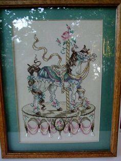 Carousal Horse Cross Stitch Needlepoint Framed by OurPlaceToNest, $45.00