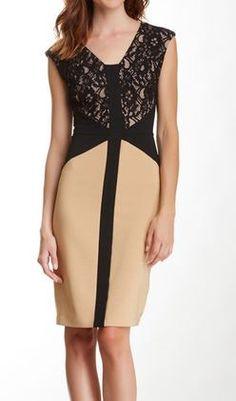 Lace Bodice Sheath Dress