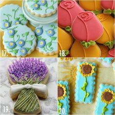 Twenty Decorated Flower Cookie Tutorials for Mother's Day