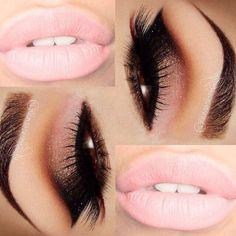 Cut crease pink lips #cutcrease #makeup #lips #pink