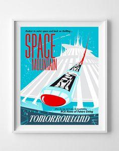 Vintage Disneyland Poster Print Space Mountain by InkistPrints