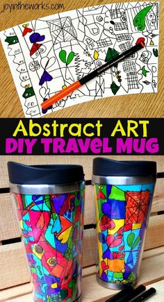 An Abstract Art Travel Mug is a perfect gift for kids to make and give to grandparents and teachers! Works great as a class gift for the teacher and includes detailed instructions on how to get the best results from the class! #diygifts #classgifts #grandparentgifts #teachergiftidea #classgift #abstractart #homemadegiftidea