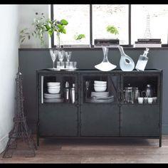 Dressoir industrieel zwart 3drs   Kasten   Giga meubel industrieel