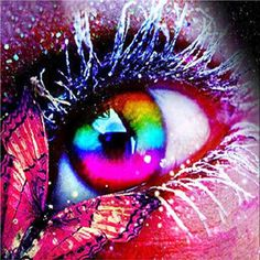 You too can be an artist when you paint with Diamonds! Every kit gives you a chance to create a work of art you can be proud of. This diamond painting kit Pretty Eyes, Cool Eyes, Beautiful Eyes, Rainbow Eyes, Rainbow Colors, Butterfly Eyes, Butterfly Makeup, Rainbow Butterfly, Butterfly Kisses