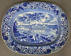 "Historical blue Staffordshire platter ""Fairmount Near : Lot 408"