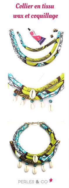 Et si on utilisait du tissu wax pour réaliser un collier ethnique? Retrouver le tutoriel sur Perles & Co https://www.perlesandco.com/Collier_en_tissu_wax_et_coquillage-s-2680-5.html