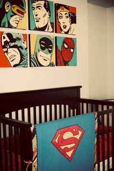 Stunning Superhero-Comic Book Nursery Ideas For Your Boy | Kidsomania//  I would stick to one comic franchise if I did this.. It seems wrong to mix DC and marvel.