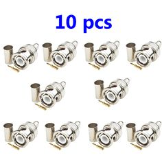 10 x Crimp BNC Male Plug Two-step ferrule with strain relief crimp Material: Body zinc alloy, nickel plated Ring copper, nickel plated Center pin copper, gold plated Copper Nickel, 3 Piece, Plugs, Plating, Cufflinks, Ring, Gold, Accessories, Rings