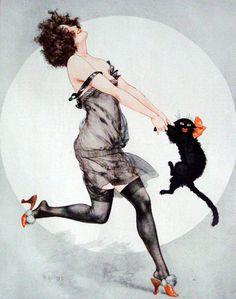 Hasta el gato es bueno para celebrar la vida parisiense. | Illustration by Chéri Hérouard for La Vie Parisienne c. 1923.