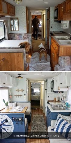 Rv Remodel Discover Camper Design Vibes: Beach-Worthy Boho RV Renovation Camper Design Vibes: Tour this beach-worthy boho RV Renovation from Gypsy and a Pirate! Camper Interior Design, Vintage Camper Interior, Vintage Campers, Airstream Interior, Vintage Rv, Vintage Airstream, Vintage Travel, Vintage Camper Redo, Vintage Caravans