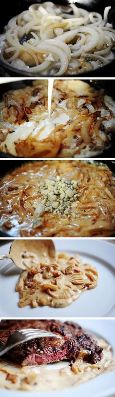 Grilled Steak with Onion-Blue Cheese Sauce - cheese, dinner, food recipes, grilled, recipes, steak