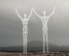Found it! These are in Iceland and are electric pylons made for a contest and are by @Choi & Shine Architects. Too cool