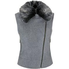 Helene For Denim Wardrobe Biker Faux Fur Gilet (€200) ❤ liked on Polyvore featuring outerwear, vests, biker vests, short sleeve vest, short vest, sleeveless faux fur vest and faux fur vest
