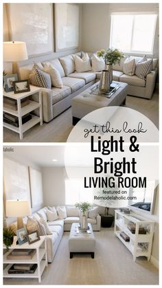 Looking to add storage and a light airy neutral touch to your living room. Get inspired with this beautiful living room design. Get This Look Light And Bright Living Room Featured On Remodelaholic.com. We share where to find pieces to complete this look in your home. Living Room Designs, Living Room Decor, Tufted Storage Ottoman, Grey Pillows, End Tables With Storage, Beautiful Living Rooms, Small Living, Sectional Sofa, Bright