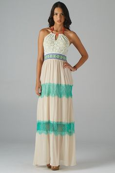 Lace Top with Embroidered Waist Halter Maxi Dress (Off-White) - Front