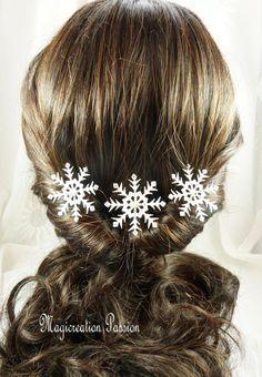 pics à chignon flocons de neige  blancs et argentés petite perle -lot de 3 - bijou cheveux romantique hiver, made in France