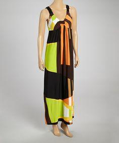 Look at this #zulilyfind! Orange & Brown Geometric Ruched Maxi Dress by Emma & Michele #zulilyfinds