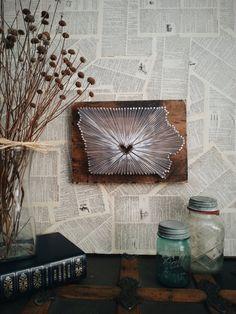 Iowa String Art, State string Art, Iowa Nail Art, Rustic Wood Wall Art, custom sign, state with heart, Iowa love, Iowa home, IA, 9x13