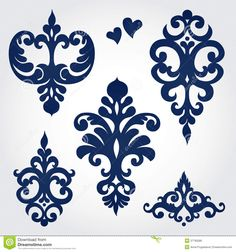 Vector Set With Baroque Ornaments In Victorian Style. Stock Photo ...