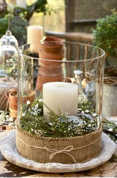 See more about winter wedding centerpieces, christmas centerpieces and christmas candles. Noel Christmas, Rustic Christmas, All Things Christmas, Winter Christmas, Christmas Crafts, Christmas Candles, Natural Christmas, Beautiful Christmas, Christmas Tablescapes
