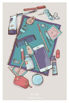 So I'm starting a series that's TOTALLY different from what I usually draw… I'm going through and drawing the contents of haikyuu characters' backpacks! First up (of eight), Oikawa. Aesthetic Drawing, Aesthetic Anime, Aesthetic Art, Arte Copic, Character Art, Character Design, Tableau Pop Art, Japon Illustration, Makeup Illustration