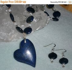 Happy Graduation Sale NOW Valentine's Day Special 925 Silver Lapis Lazuli And Moonstone Heart Pendant Necklace Earring Set
