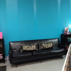 My salon with my fav striped wall. Flat wall with same tone gloss. Lov it.