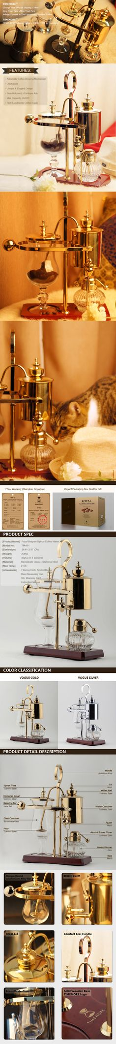 TIMEMORE Premium Quality Royal Belgium Siphon Coffee Maker - Vague Gold and Silver series.. visit: http://www.timemore.com.sg