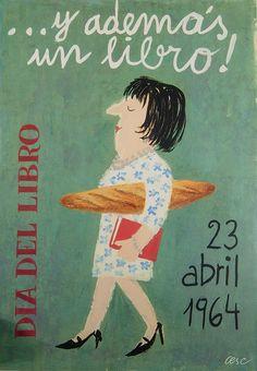 "FRANCESC VILA I RUFAS ""CESC"" ... i además un libro! Día del libro 23 abril 1964. Mides: 62x44"