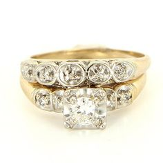 Vintage 14 Karat Yellow Gold Diamond Wedding Ring Set Fine Bridal Jewelry Estate $799