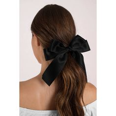 Tobi Carmen Bow Tie Hair Clip ($12) ❤ liked on Polyvore featuring accessories, hair accessories, black, barrette hair clip and hair clip accessories