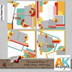 Template Pack 7  includes 4 (12x12) page templates that can be easily sized to 8x8 if you would like. My templates are PU/S4H/S4O/CU friendly. PSD, PNG and TIFF files are included. Shadows are for preview purpose only.