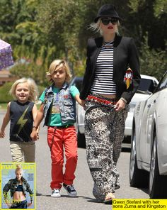 Gwen Stefani and her super cute boys Kingston and Zuma    Read More at: http://hollywoodlife.com/2012/09/11/gwen-stefani-pregnant-third-child-marie-claire/#utm_source=copypaste_campaign=referral