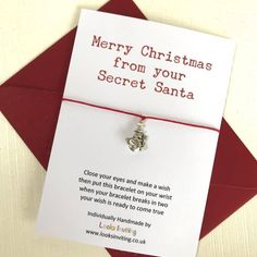 Secret Santa Wish Bracelet - Secret Santa Gift by Looks Inviting with Free UK Delivery Secret Santa Messages, Message From Santa, Secret Santa Gifts, Christmas Wishes, Simple Christmas, Christmas Stocking, Christmas Tree, Christmas Crafts, Card Sayings